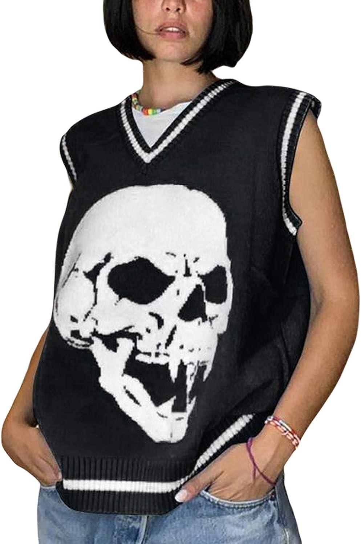 Women Preppy Style Knitwear Tank Top V Neck Argyle Plaid Knitted Sweater Vest Y2K E-Girls Streetwear