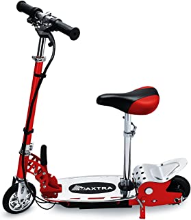 BenefitForU Folding Electric Scooter with Seat for Kids, Adjustable Handlebar and Seat for Kids or Teens, 170LBS Max Weight Capacity Motorized Scooters -Red