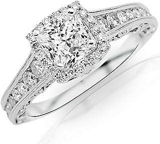 1.5 Ctw 14K White Gold GIA Certified Princess Cut Vintage Halo Style Channel Set Round Brilliant Diamond Engagement Ring Milgrain, 0.75 Ct D-E VVS1-VVS2 Center
