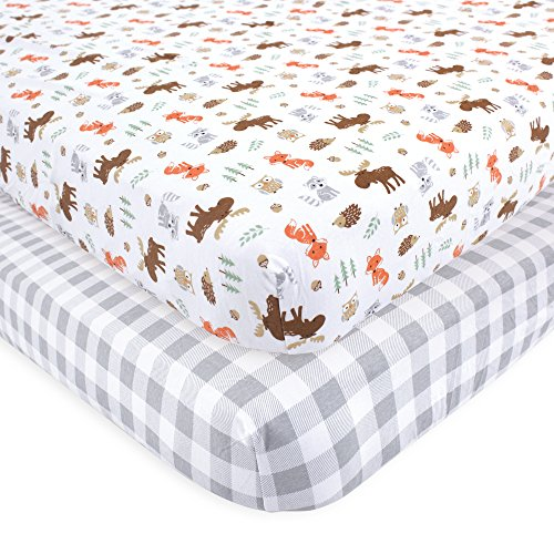 Hudson Baby Cotton Fitted Crib Sheets, 2 Pack, Woodland, One Size