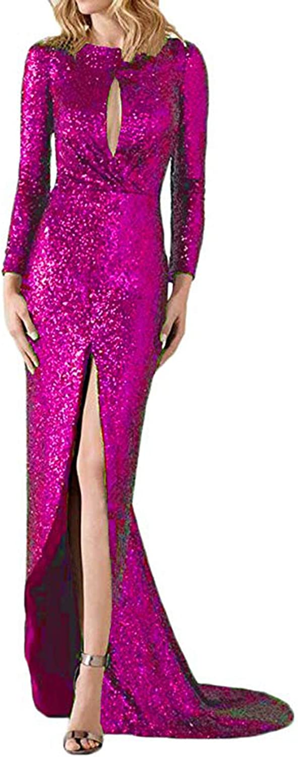 CIRCLEWLD Slim Sequin Evening Dresses with Slit Long Sleeves Wedding Party Women Gown E217