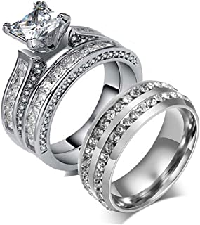 Couple Ring Bridal Set His Hers Women White Gold Filled CZ Men Stainless Steel Wedding Ring Band Set