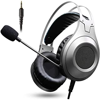 Ps4 headphones Gaming Headset Microphone Stereo Gaming Headset for Xbox One PS4 Playstation Computer Headset xbox headsets (Color : Silver)