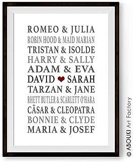 ABOUKI Kunstdruck Traumpaar Nr. 6 - ungerahmt - Liebespaare mit Wunschnamen personalisierte Geschenk-Idee Hochzeit Verlobung Valentinstag Geburtstag Weihnachten