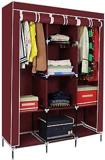 Shirleyle-Hocu Portable Closet Organizer Portable Bedroom Furniture Clothes Closet Non-Woven Fabric Wardrobe Folding Cloth Storage Organizer Easy to Assemble