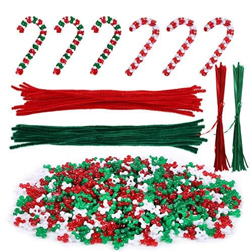 LIHAO 2500 Cuentas Plásticas Tallo de Chenilla para Hacer Adorno de Bastón de Caramelo de Navidad Decoración (Rojo y Verde) 🔥