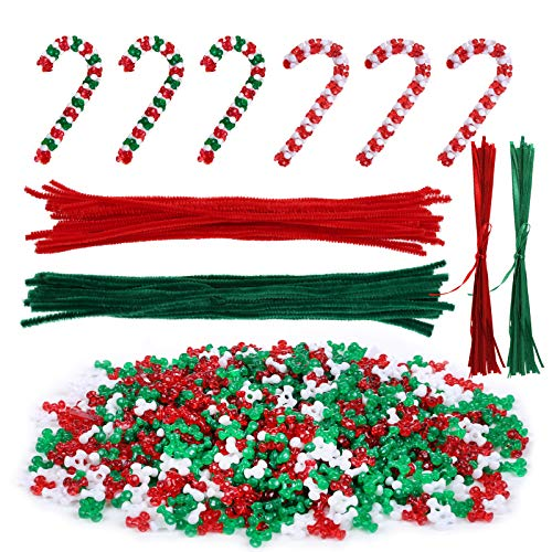 LIHAO 2500 x Tri Perlen Set Weihnachten Dreiförmige Perlen Rot Grün Weiß mit Pfeifenreiniger und Band für Zuckerstangen DIY Basteln zur Dekoration Weihnachtsbaum