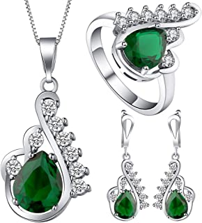 VPbao Crystal Pendant Silver Plated CZ Necklace Earrings Ring Jewellery Set Green