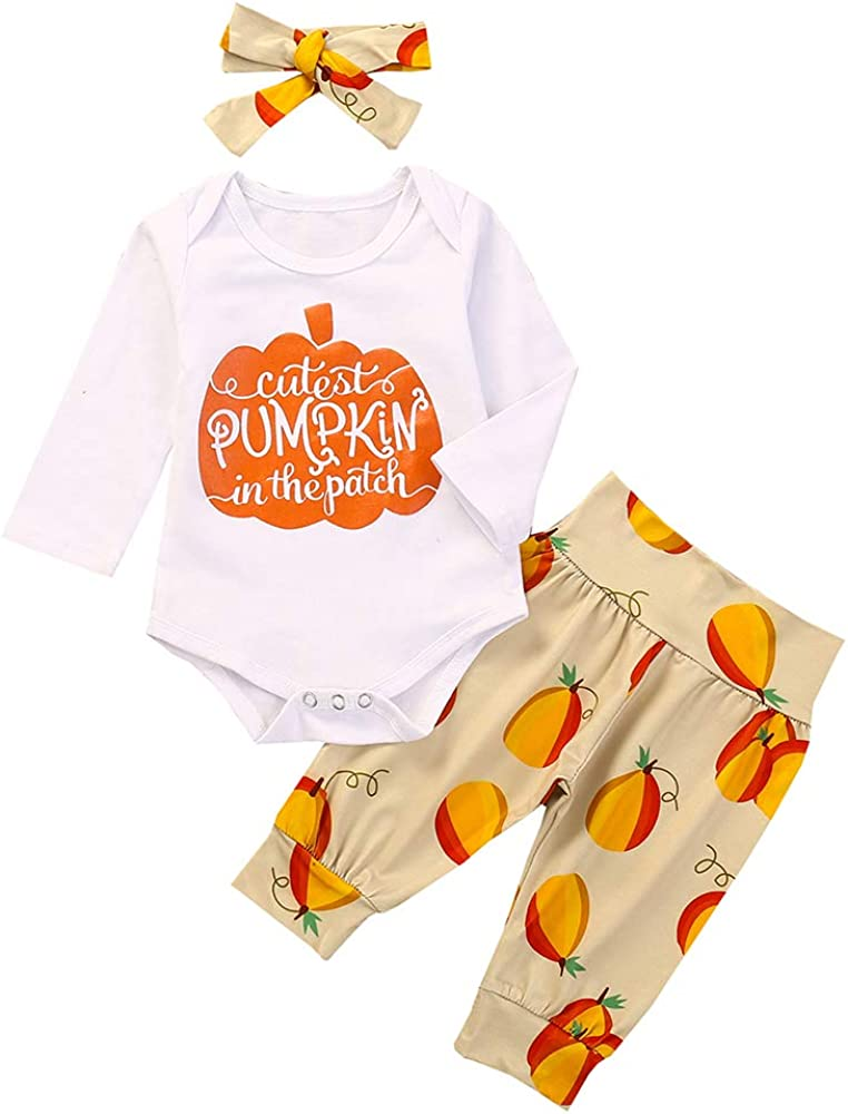 Toddler Baby Boy Girl Halloween Clothes Long Sleeve Pumpkin Romper top Pants Outfit Set