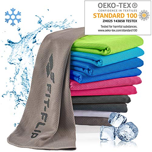Fit-Flip Kühlendes Handtuch 100x30cm, Mikrofaser Sporthandtuch kühlend, Kühltuch, Cooling Towel, Mikrofaser Handtuch – Farbe: grau, Größe: 100x30cm