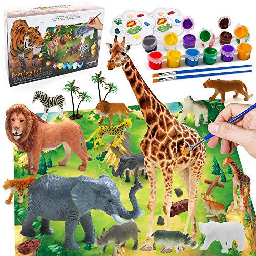 AYUQI Animales Pintar Juegos para Niños, Arte y Artesanía Figuras para Pintar Manualidades Pintar Creativo 3D DIY Juguetes Navidad Regalos Manualidades Regalo Educativo Preescolar para Niños Niñas