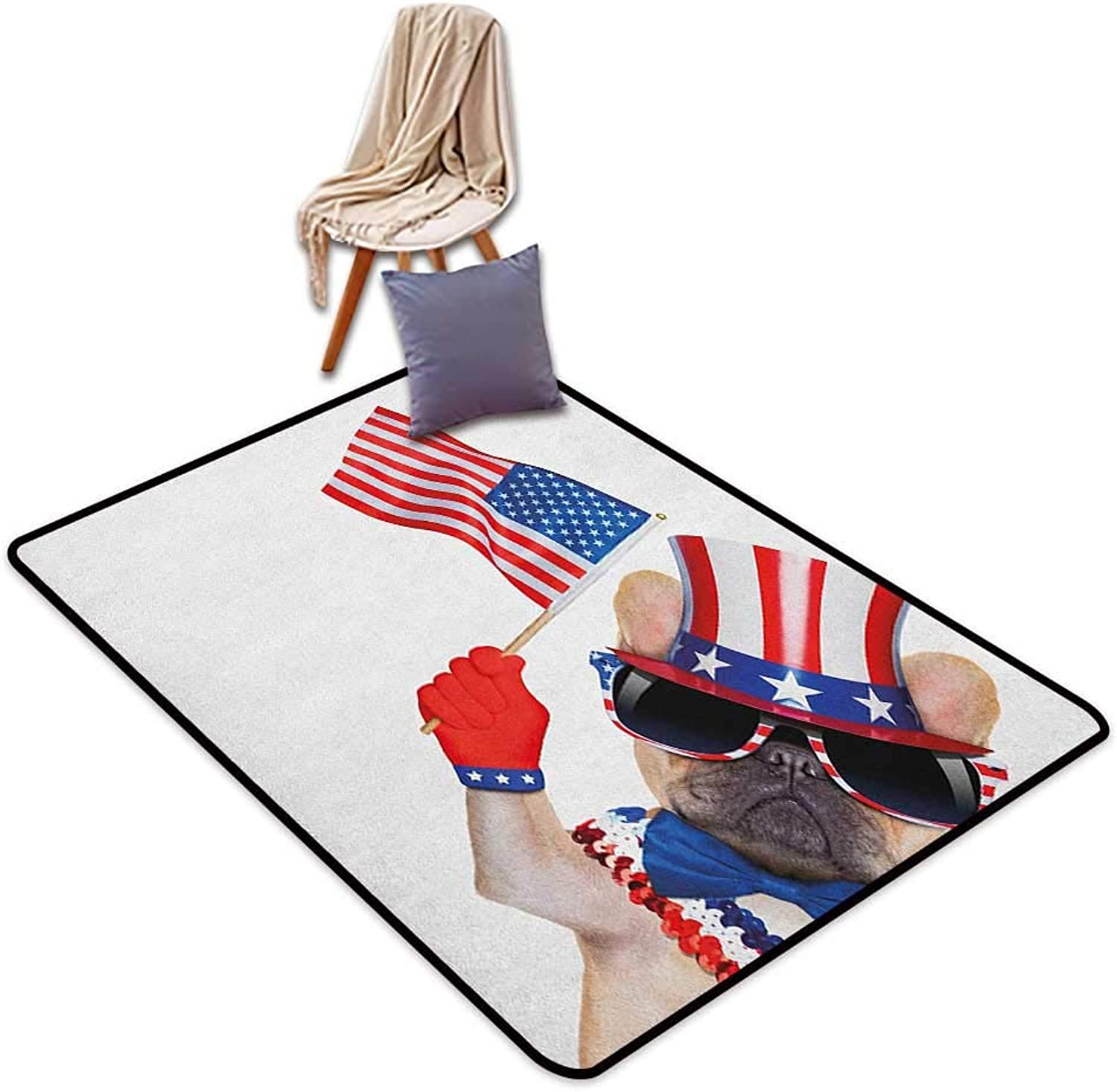 Inner Door Rug 4th of July Pug Dog Wearing Patriotic Accessories and Waving The Flag Celebration Image Outside The Door Rug W4'xL6'
