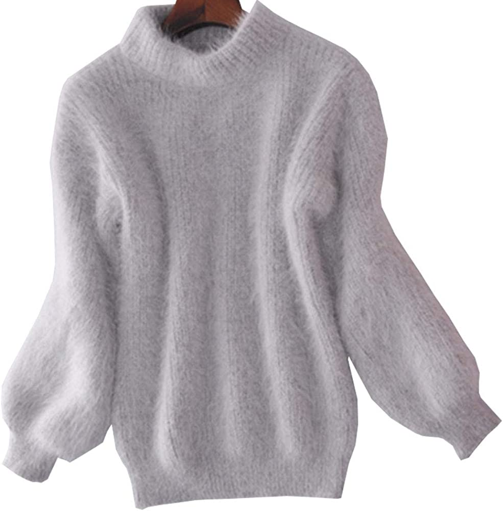 YOUMU Atlanta Mall Women Faux Mohair Max 40% OFF Fur Sweater Turtl Pullover Fluffy Jumper