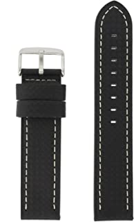 20mm Watch Band Long Black Carbon Fiber White Stitching Water Resistant