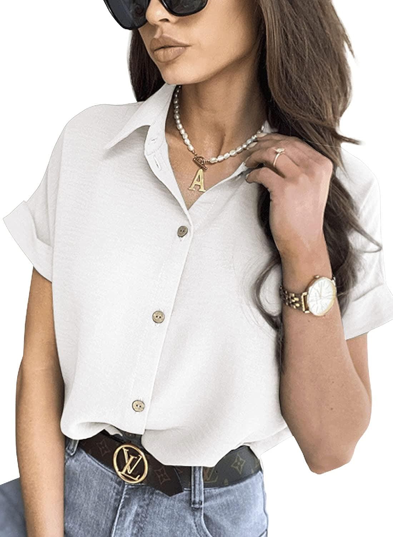 Apbondy Womens V Neck Button Down Shirts Casual Short Sleeve Office Work Blouse