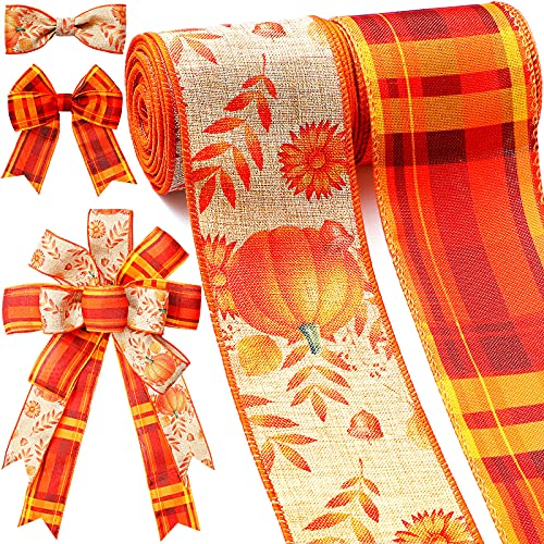 Fall Wired Ribbons 2.6 Inch 12 Yards Plaid Fabric Ribbons Farmhouse Wrapping Ribbon Rustic Decorative Ribbon for Thanksgiving Christmas DIY Crafts Party Home Decor, 2 Styles (Pumpkin Pattern)