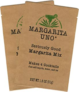 Margarita Uno Premium Margarita Mix Powder - 2 Pack - Just Add Tequila, Water, and Ice - No Artificial Sweeteners, Flavors, Colors, or Preservatives, Non-GMO - (4 Drinks per Packet, 8 Drinks Total)