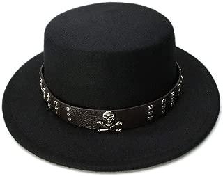 JAUROUXIYUJI New Kid Children Vintage 100% Wool Wide Brim Top Cap Pork Pie Pork-Pie Bowler Hat Skull Bead Leather Band (54cm/Adjust) (Color : Black, Size : 54cm)