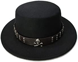 2019 Women Kid Children Vintage Wool Wide Brim Top Cap Pork Pie Pork-Pie Bowler Hat Skull Bead Leather Band (54cm/Adjust) (Color : Black, Size : 54cm)