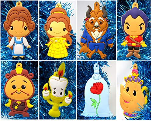 Christmas Tree Ornaments Beauty and The Beast Mini Holiday Set Featuring Belle, Beast and Friends - Around 3' Tall