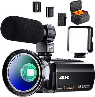 4K ビデオカメラ 充電式マイクロホン 60FPS 48MP HDR Youtubeで生放送 ビデオ通話 WIFI機能 16倍デジタルズーム 超広角レンズ 赤外線夜視機能 ビデオライト 予備バッテリーが二つあり