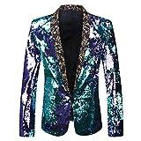 PYJTRL Men Stylish Two Color Conversion Shiny Sequins Blazer Suit Jacket (Blue + Purple, L/42R)