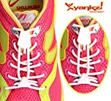 Yankz! SureLace No Tie Elastic Shoelace System with 2 Lock Adjustment, White Laces with White Locks - Locking Lace Replacement for Kids, Adults, and Senior Walking and Running Shoes