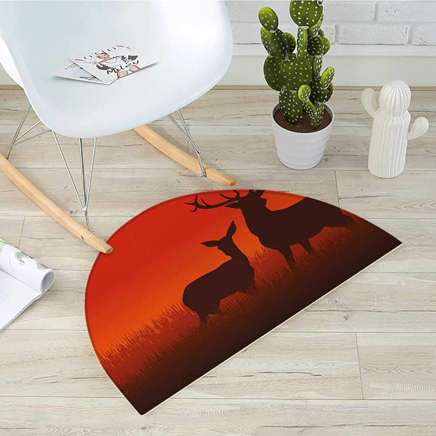 Hunting Semicircle Doormat Silhouette Illustration of a Deer and Doe on Meadow Animals Autumn Season Skyline Halfmoon doormats H 43.3  xD 64.9  Multicolor