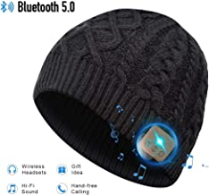 Bluetooth Hat, Bluetooth Beanie, Winter Knitted Beanie Cap with Wireless Stereo Headphone for Running Skiing Camping Hiking, Thanksgiving Day Black Bluetooth hat