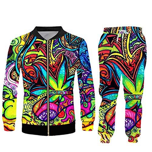 BSDASH Pintura al óleo Hojas Chándal Conjuntos de Hombres Floral Impresión 3D Sudadera y Pantalones Hip Hop Más Tamaño JKPA02226 XL