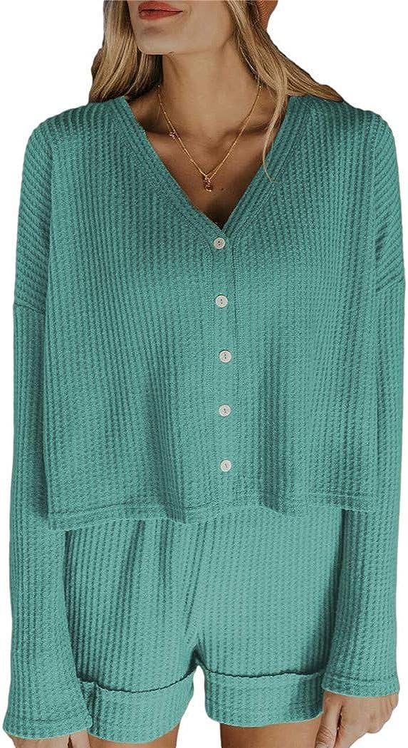 QANSI Womens Solid Color Waffle Short Lounge Set Long Sleeve Tops and Shorts 2 Piece Pajamas Set Sleepwear