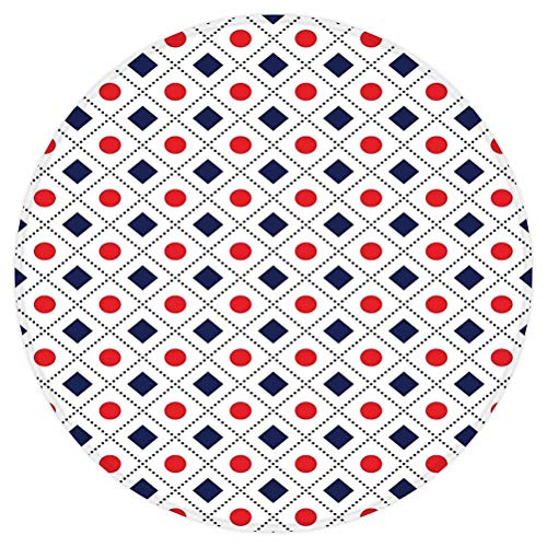 SoSung Americana Decor Round Area Rug,Big Red Dots Squares and Dashed Cross Lines in Flag Colors,for Living Room Bedroom Dining Room,Round 3'x 3',Navy Blue Red and White