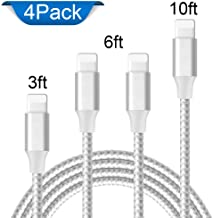 iPhone Charger, Mfi Certified Lightning Cables 4Pack 3Ft 2x6Ft 10Ft to USB Syncing Data and Nylon Braided Cord Charger for iPhone XS/Max/XR/X/8/8Plus/7/7Plus/6S/Plus/SE/iPad and More