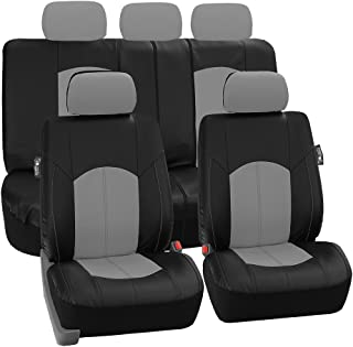 FH Group PU008GRAY115 Full Set Seat Cover (Perforated Leatherette Airbag Compatible and Split Bench Ready Gray)