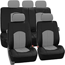 FH-PU008115 Perforated Leatherette Full Set Car Seat Covers, Airbag & Split Ready, Gray/Black - Fit Most Car, Truck, SUV, or Van
