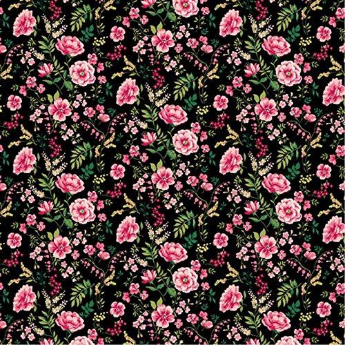 Hans-Textil-Shop Stoff Meterware Süße Blumen Baumwolle - 1 Meter, Blumen, Blumenwiese, Kleidung, Dirndl, Deko, Bettwäsche (Schwarz)