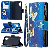 Galaxy A32 5G Zipper Case for Samsung Galaxy A32 5G Girly Wallet Case with Credit Card Slots, Anti Resistant Bumper Cover, Wrist Strap Soft TPU Flip Protective Skin (Butterfly)