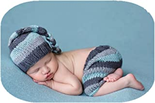 Coberllus Newborn Baby Photo Props Outfits Crochet Knitted Hat Pants Set for Boy Girls Photography Shoot