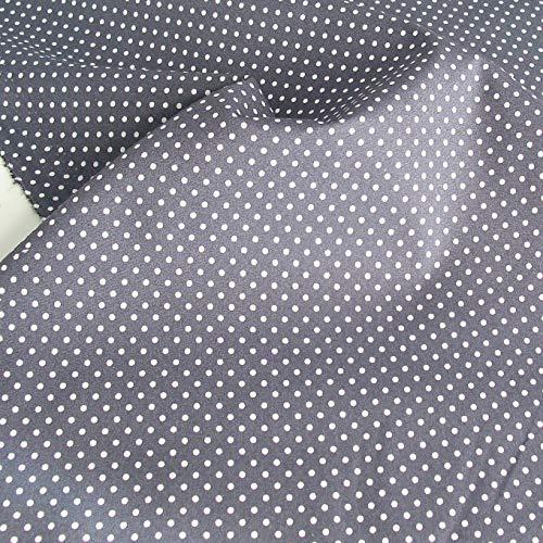 TOLKO Baumwollstoff aus Oeko-Tex Baumwolle | Bunt kräftige Farben | weiche Baumwoll-Popeline zum Nähen Dekorieren | Kleiderstoff Dekostoff Bezugsstoff Meterware 50cm (Grau Weiße Punkte)