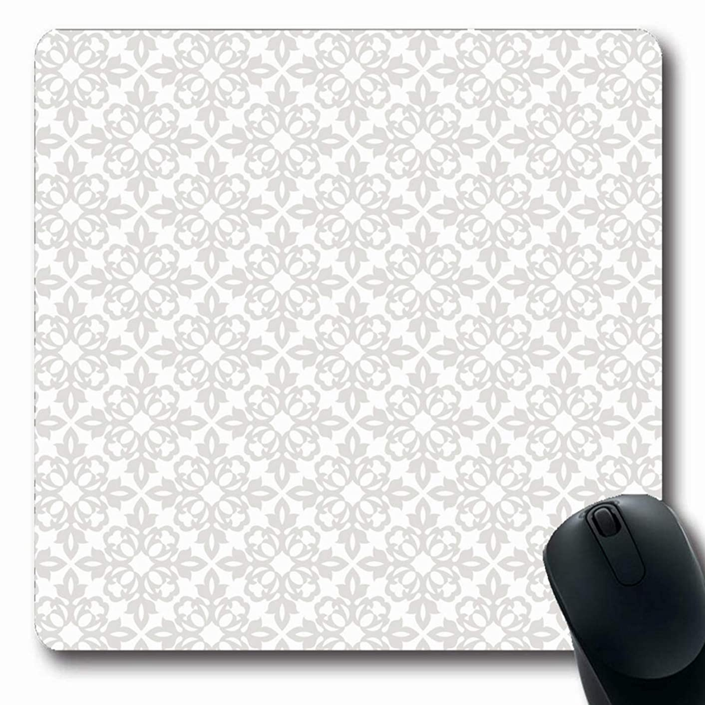 Ahawoso Mousepads Wall Floral Pattern Gray Abstract Wedding Flower Modern Victorian Simple Classic Design Oblong Shape 7.9 x 9.5 Inches Non-Slip Gaming Mouse Pad Rubber Oblong Mat