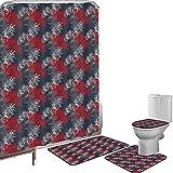 Juego de cortinas baño Accesorios baño alfombras Resumen Alfombrilla baño Alfombra contorno Cubierta del inodoro Follaje surrealista vibrante con inspiraciones japonesas Decorativo del Lejano Oriente