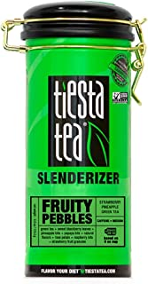Tiesta Tea Fruity Pebbles, Strawberry Pineapple Green Tea, 4 Ounce Tin, Medium Caffeine, Loose Leaf Green Tea Slenderizer Blend, 50 Servings , 4 Ounce (Pack of 1)