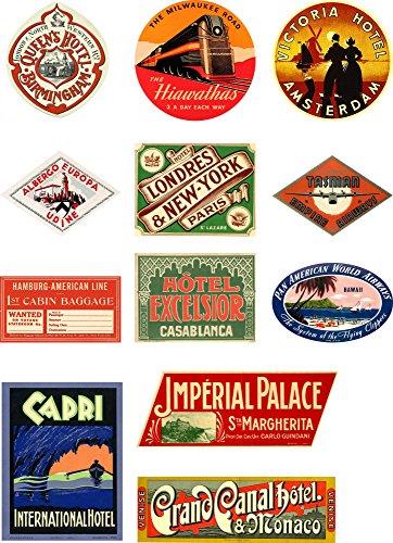 Juego de etiquetas de estilo vintage para maleta, 12 pegatinas de vinilo, juego 2 de 4