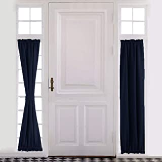 Aquazolax French Door Curtain Panel for Privacy - Blackout Rod Pocket Front Door Side Panels 25x72 Inches with Bonus Tieback - 1 Piece, Navy Blue