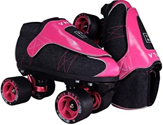 VNLA Zona Rosa Jam Skate Mens & Womens Skates - Roller Skates for Women & Men - Adjustable Roller Skate/Rollerskates - Outdoor & Indoor Adult Skate - Kid/Kids Skates (Denim/Pink)