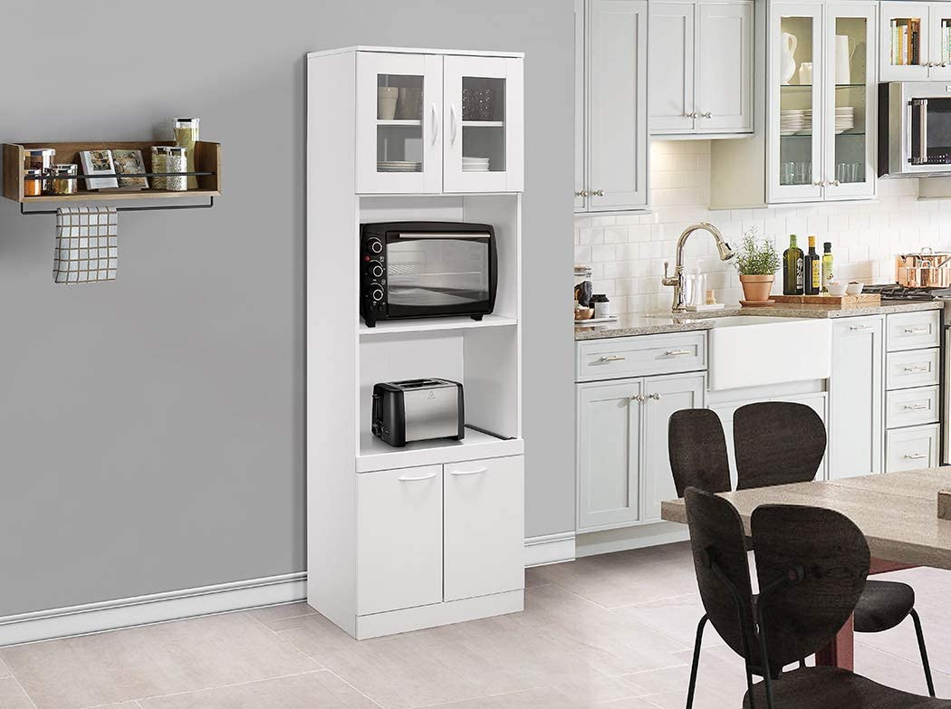 Amazon Com Kings Brand Furniture Tall Kitchen Pantry Microwave Storage Cabinet White Kitchen Dining
