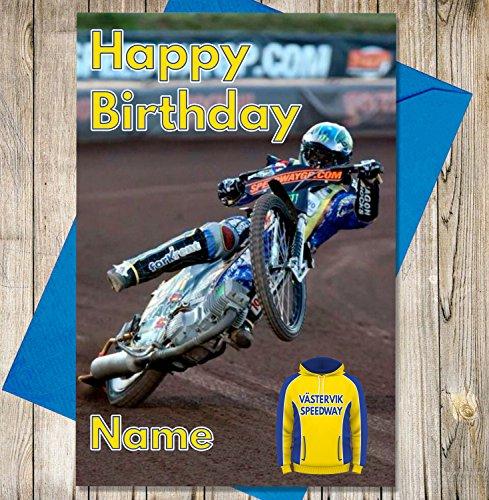 Västervik Speedway - Gepersonaliseerde Speedway Verjaardagskaart - Naam en leeftijd gedrukt op de voorzijde