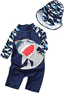 3D Cartoon Shark Rash Guard Swimsuit Baby Boys Girls One-Piece Sun Protection Long Sleeve Swimwear Bathing Suit