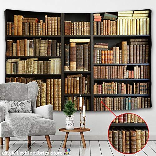 Tapiz para colgar en la pared, diseño retro de estantería para vino, decoración del hogar, dormitorio, biblioteca misteriosa