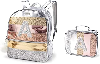 Justice Girls Silver Rose Gold Glitter Stripe Full Size School Backpack